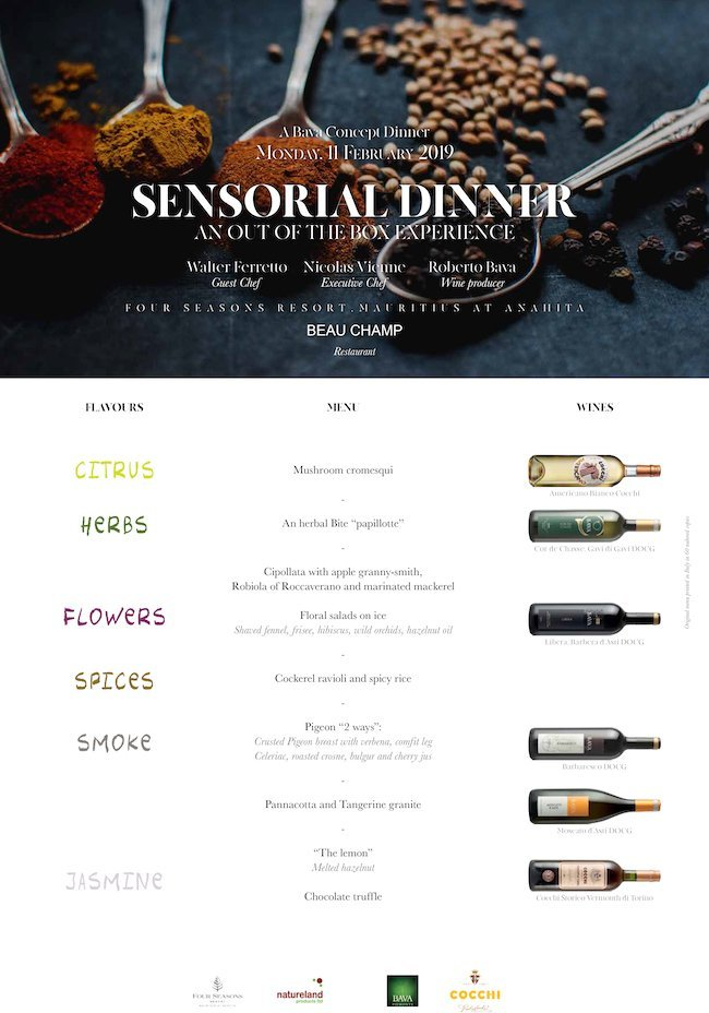 Sensorial Dinner Four Seasons Resort Mauritius at Anahita 11/02/2019