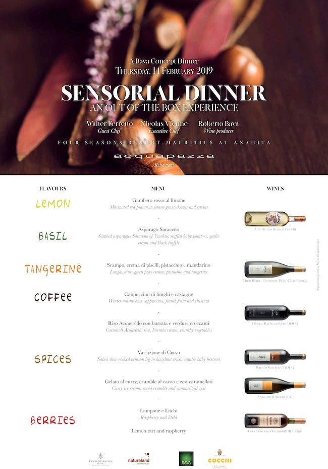 Sensorial Dinner Four Seasons Resort Mauritius at Anahita 14/02/2019
