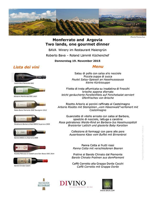 Monferrato and Argovia Two lands, one dinner 19/11/2015