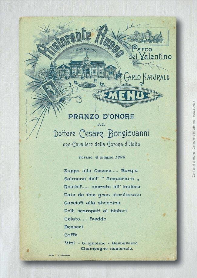 Pranzo d'onore Torino 04/06/1898