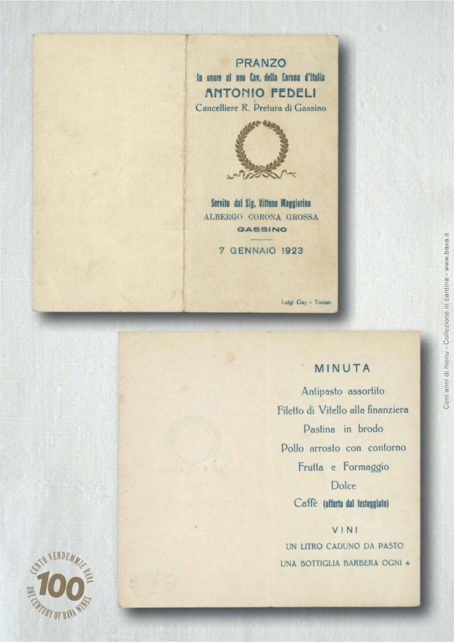 Pranzo Antonio Fedeli Gassino 07/01/1923