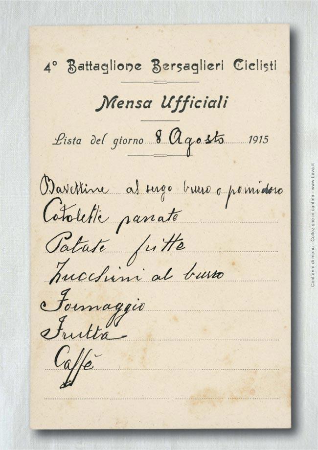 Mensa ufficiali Bersaglieri ciclisti 8/08/1915