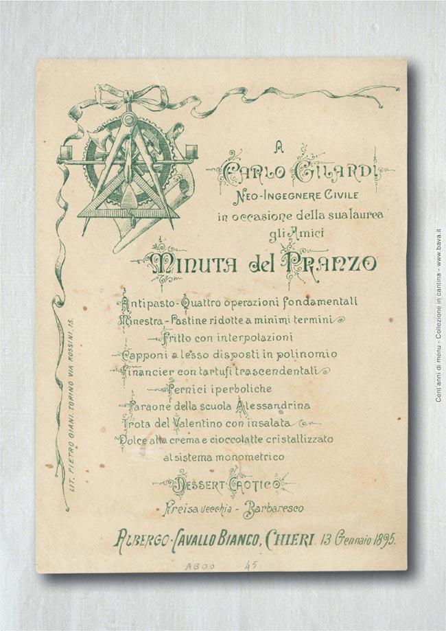 Minuta del pranzo Chieri 13/01/1895