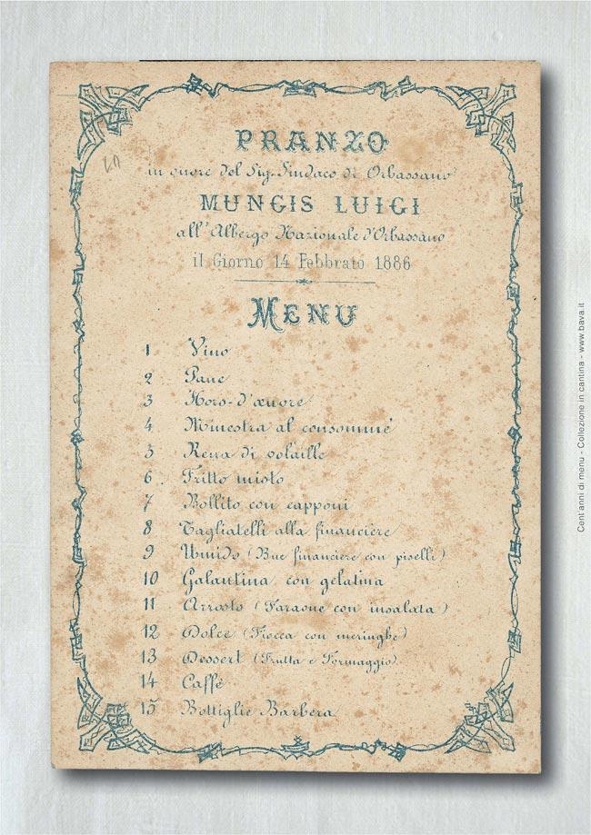 Pranzo Mungis Luigi Orbassano 14/02/1886