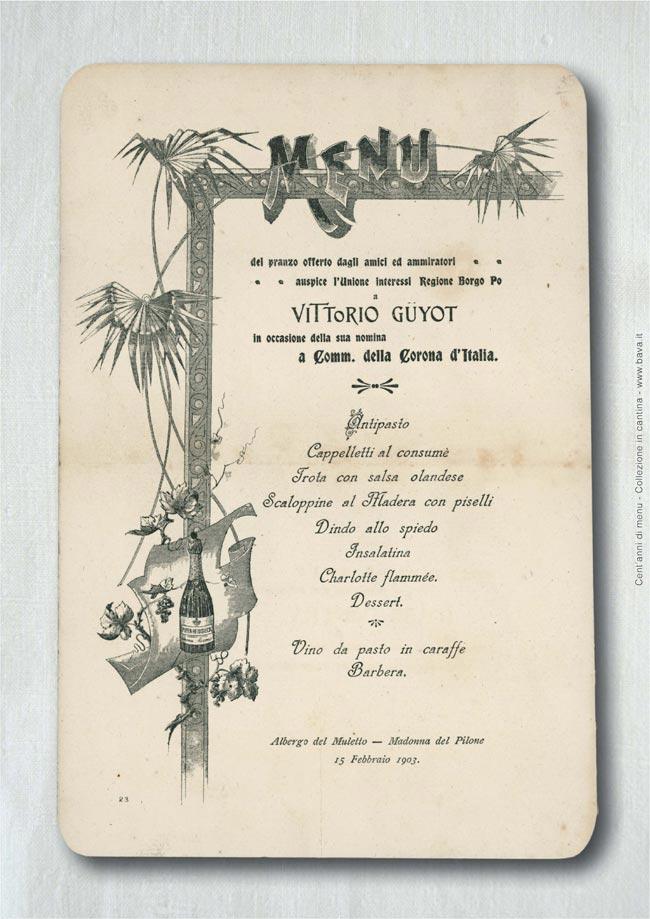 Pranzo Vittorio Guyot Madonna del Pilone 13/02/1903