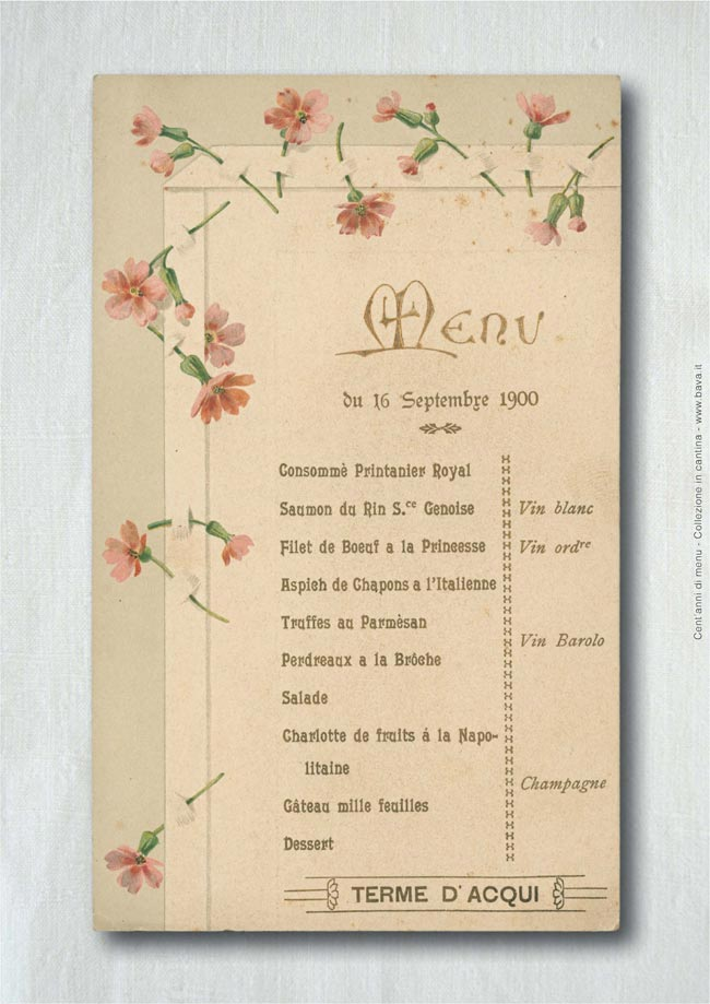 Menu Terme d'Acqui 16/09/1900
