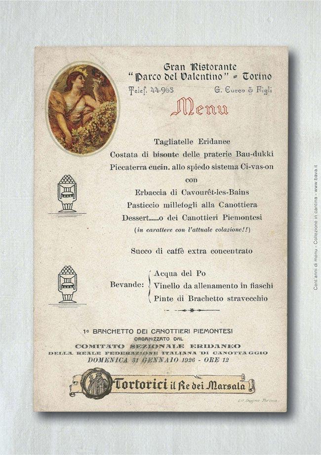Menu Torino 31/01/1926