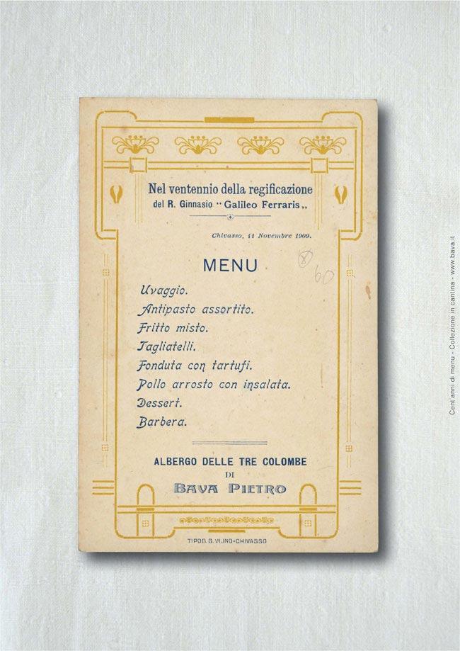 Menu Chivasso 11/11/1909