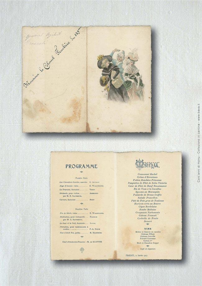 Menu Frascati 21/01/1907