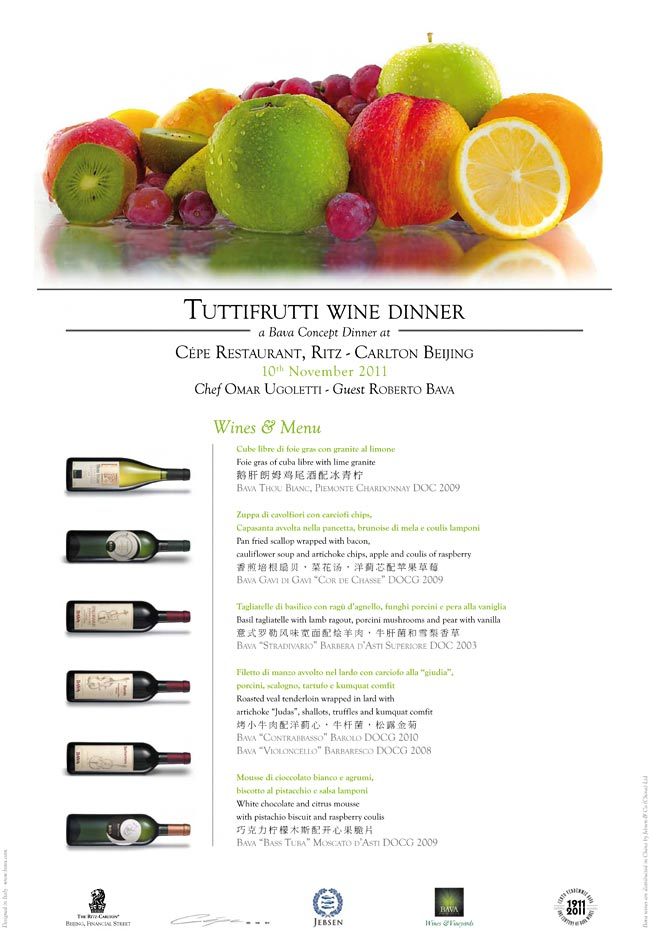 Tuttifrutti wine dinner Pechino 10/11/2011